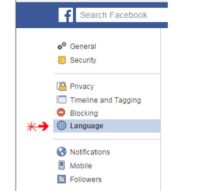 Change Language Back to English On Facebook