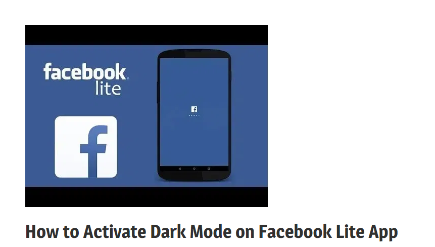 How to Activate Dark Mode on Facebook Lite App