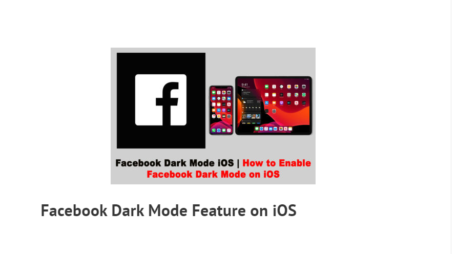 How to Enable Facebook Dark Mode on iOS
