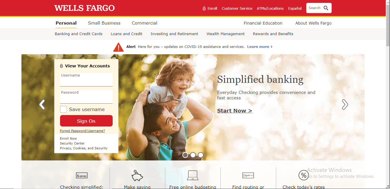 Wells Fargo Create Account